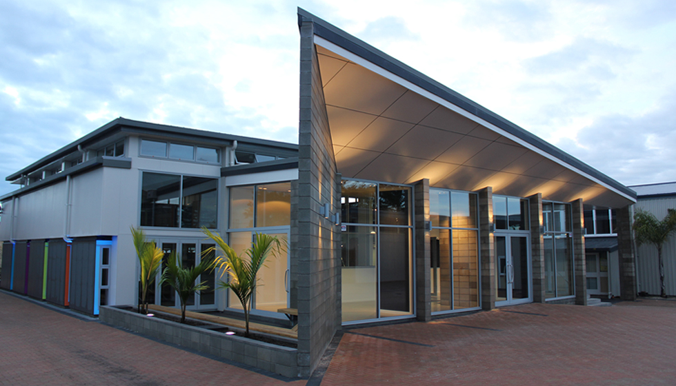 Mount Maunganui College Resource And Research Centre Re Development Entry Exhibition Foyer And Courtyard At Dawn Of