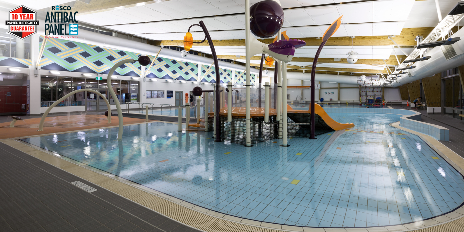 """Resco Compact Laminate delivers """"village change room"""" concept at Albany Stadium pool."""